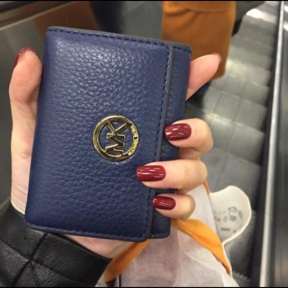 c1f30af28fc4 Michael Kors Accessories   Fulton Leather Card Case Navy Color ...